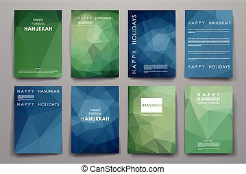 Set of brochure, poster design templates in Hanukkah style -...