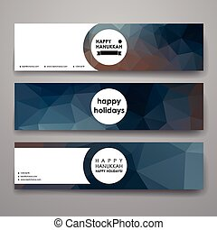 Set of modern design banner template in Hanukkah style...