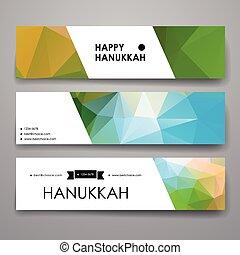 Set of modern design banner template in Hanukkah style...
