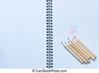 pencils write notebook - wood colour pencil write on...