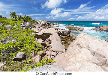 Anse Cocos, La Digue, Seychelles - Granite rocks and...