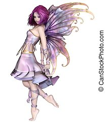 Pretty Purple Fairy - Fantasy illustration of a cute and...