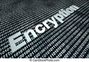 Encryption - The word Encryption over a binary background.