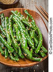 Fried green beans with sesame