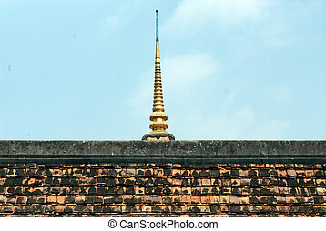 Ancient roof and pagoda in temple - The temple was built in...