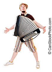 Accordion musician - musician with accordion isolated on...
