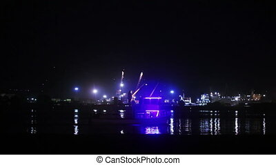 Sea Port of night - Boat sails from man standing near sea...