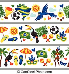 Brazil seamless borders with stylized objects and cultural...