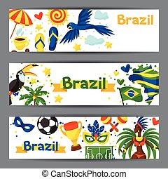 Brazil banners with stylized objects and cultural symbols.