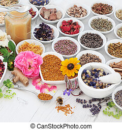 Natural Health Care - Natural flower and herb selection used...