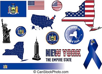 New York Icon Set - Vector graphic images and icons...