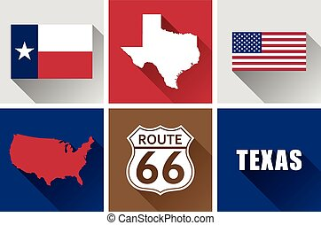 Texas Flat Icon Set - Set of vector graphic flat icons...