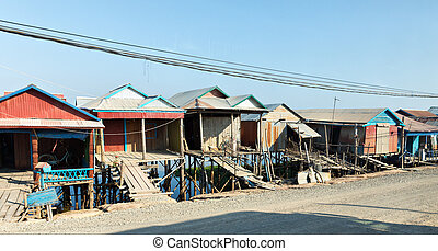 Slums in Cambodia - Ghetto in Cambodia near Tonlesap