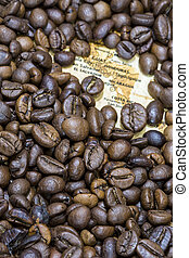 Map of Central America under a background of coffee beans -...