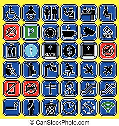 symbols of for used in airport and terminal
