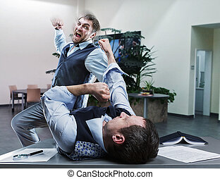 Businessmen fighting in the office - Two furious businessmen...