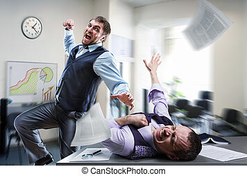 Businessmen fighting in the office - Two agressive...