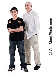 young teenager with his grandfather, full length - young...
