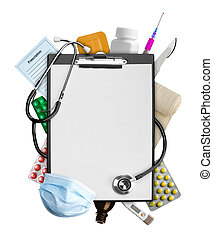 Medical supplies - Empty clipboard with medical supplies