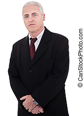 Portrait of grey-haired mature business man on isolated...