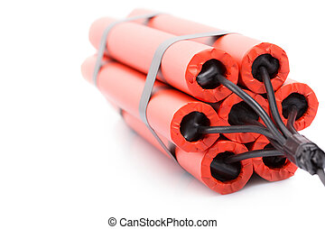 TNT - Red explosives isolated over white background shot