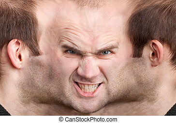 Panoramic face of malicious man - A panoramic face of very...