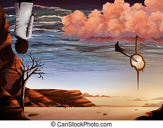 surrealist artwork of a desert landscape and ocean sky