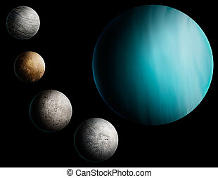 a digital painting of the planet Uranus and 4 of its many...