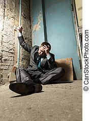 Arrested man with handcuffed hand - Arrested businessman...