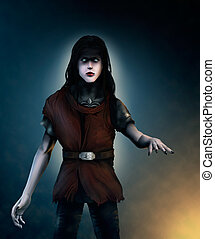 a digital painting of a pale vampire with long hair and...