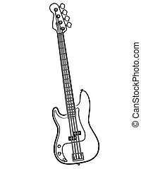 Electric Bass Guitar line art illustration - a simple...