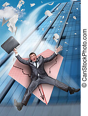 Businessman falling on paper airplane - Scared businessman...