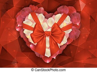 Heart of rose petals with bow