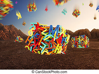 Random multicolored letters forming cubes - Random...