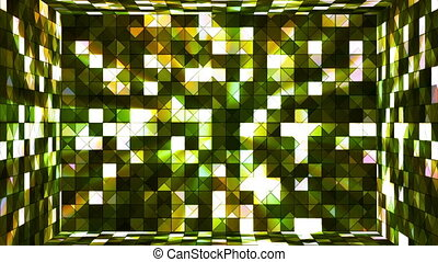 Broadcast Twinkling Hi-Tech Squares Room, Green, Abstract, Loopable, HD