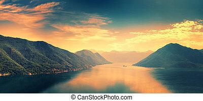 Boka-Kotor Bay, Montenegro Sunset scene - Boka-Kotor Bay,...