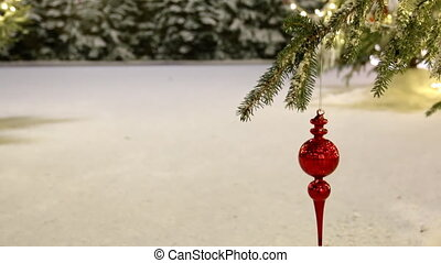 Christmas tree branch,snowy bushes - Christmas red glass...