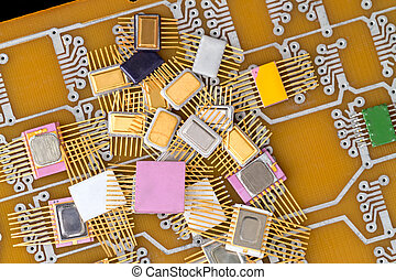 Pile of different chips - A pile of different chips on the...
