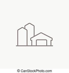Farm buildings line icon. - Farm buildings line icon for...