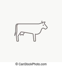 Cow line icon. - Cow line icon for web, mobile and...