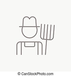 Farmer with pitchfork line icon - Farmer with pitchfork line...