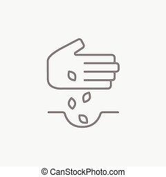 Hand planting seeds in ground line icon. - Hand planting...