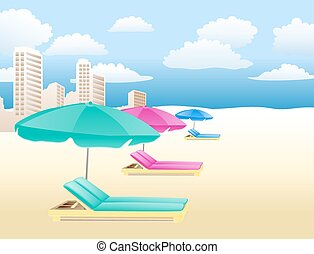 chairs with umbrellas on the beach with clouds and houses