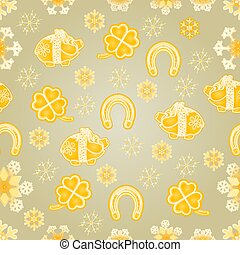 Seamless texture symbols for luck gold background vector.eps...