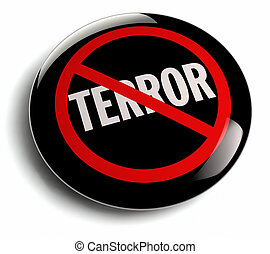 Anti Terror Campaign Badge on White - Anti terrorism campign...