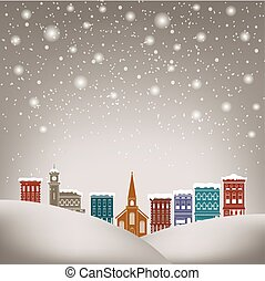 Quaint Christmas village for print or web use