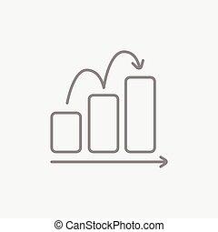 Bar chart upward line icon. - Bar chart going upward line...