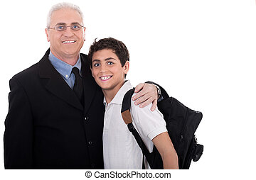 Close up shot of old business man embraces a teenager on...