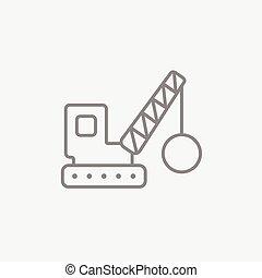 Demolition crane line icon. - Demolition trailer line icon...