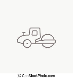 Road roller line icon - Road roller line icon for web,...